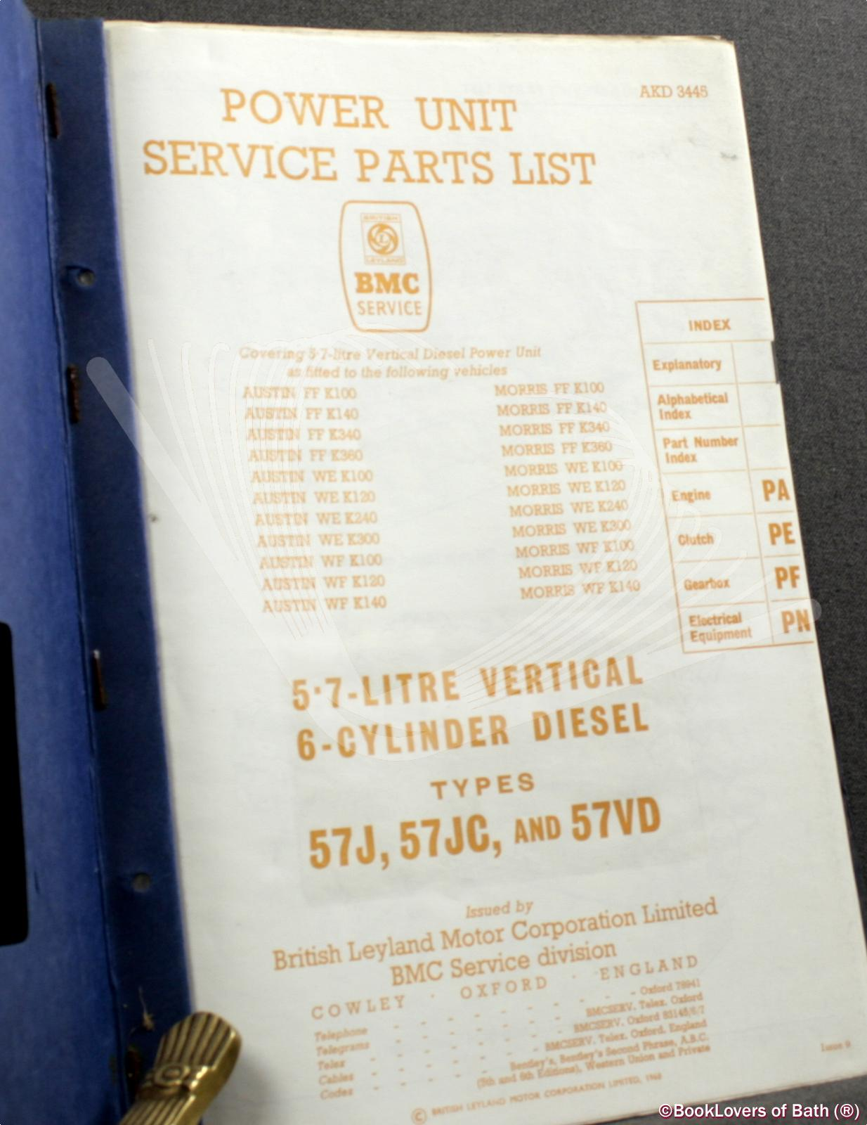 Power Unit Service Parts List 5.7-Litre Vertical 6-Cylinder Diese